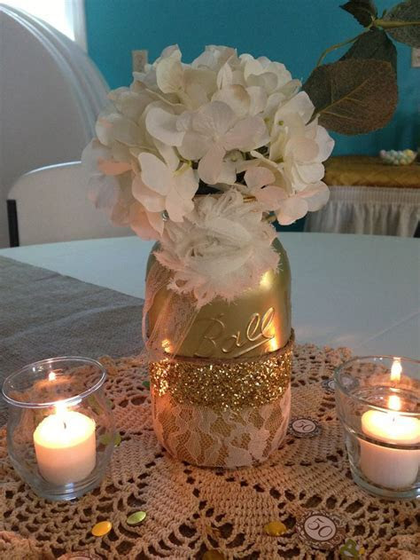 Centerpiece   50th Anniversary Party   Pinterest   Jars