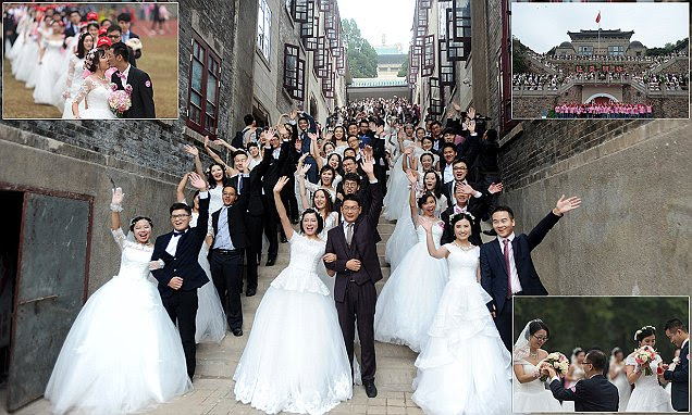 123 couples arrive for mass wedding ceremony in China