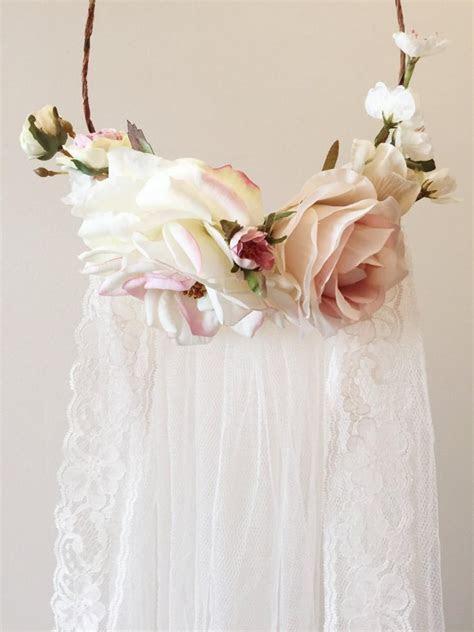 blush pink flower crown flower crown veil bridal