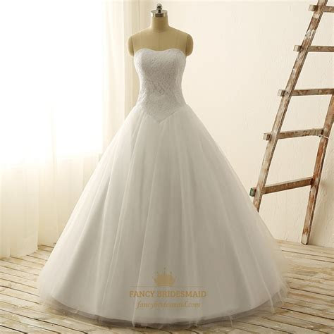 White Strapless Lace Bodice Tulle Wedding Dress With Lace