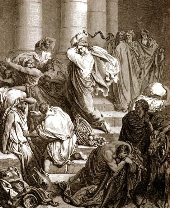 Christ Whipping and Expelling the Money Changers and Vendors from the Temple Gustave Dore