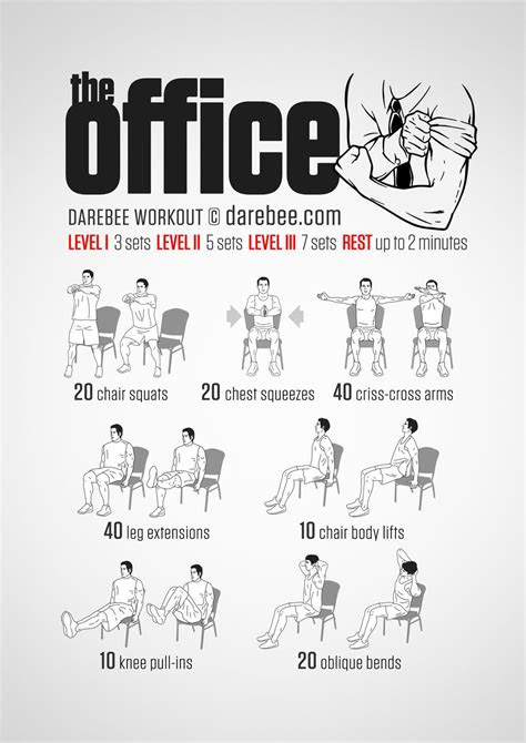 No-equipment office workout for all fitness levels. Visual
