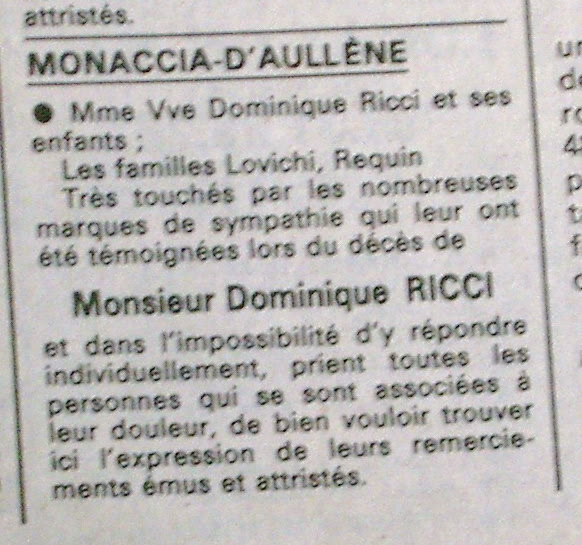 Dominique Ricci notice remerciements avril 1986