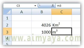 Gambar: Contoh penggunaan superscript di Microsoft Excel