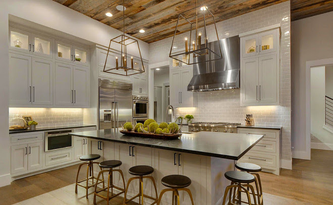 Kitchen Barnwood ceiling. Kitchen Barnwood ceiling ideas. Farmhouse kitchen Barnwood ceiling. #Kitchen #Barnwoodceiling  Geschke Group Architecture.