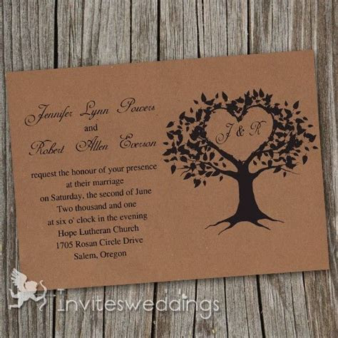 Cheap Vintage Brown Love Tree Wedding Invitations IWI249