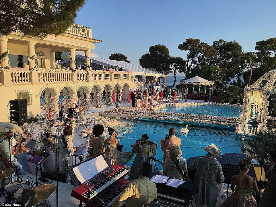 Wedding guests enjoyed live music courtesy of a band playing by the pool well into the night. Several celebrities from Russia attended