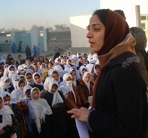Malalai Joya visits a girls school in Farah province in Afghanistan
