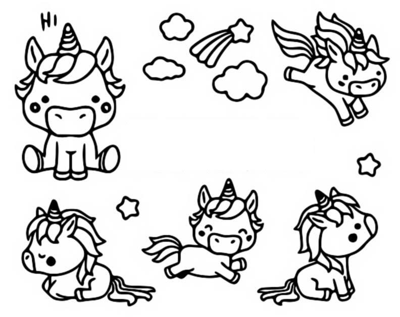 Dibujo Para Colorear Kawaii Unicornios 10