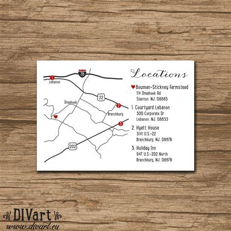 Custom Wedding Map, Event Map, Directions, Locations