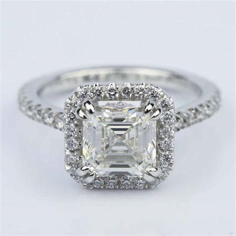 Petite Halo 2.00 Carat Asscher Diamond Engagement Ring