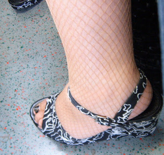 Fishnets and Magic Eye sandals