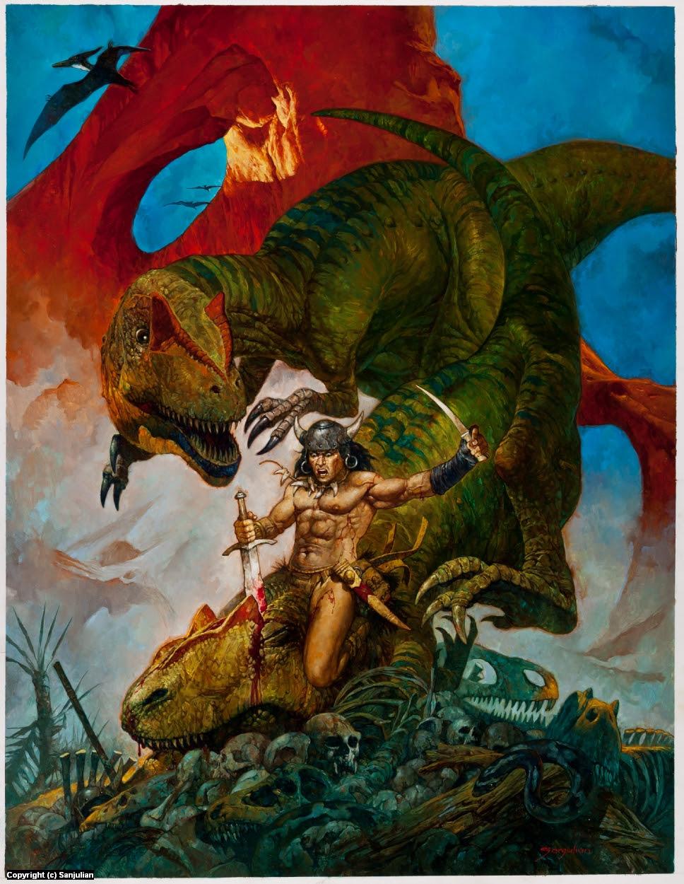 Extinction  - Conan vs. Allosaurus Artwork by Manuel Sanjulian