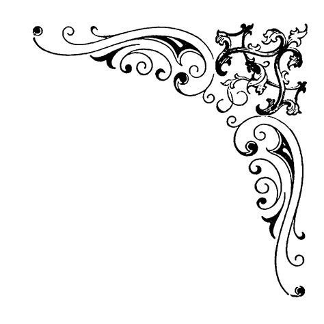 Digital Stamp Design: Flourish Rose Border Corner Clip Art