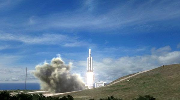 An artist's concept of the Falcon Heavy rocket launching from Vandenberg Air Force Base in California.