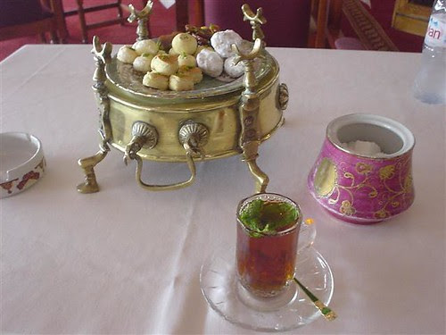 Mint Tea - with a ton of biscuits