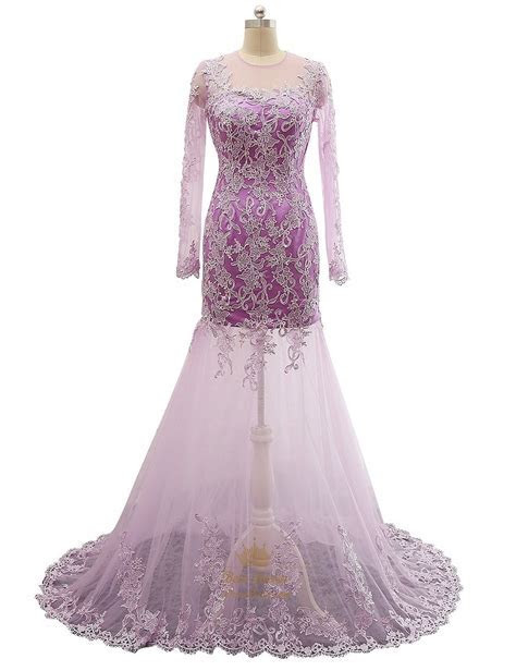Lavender Sheer Lace Qpplique Overlay Long Sleeve Wedding