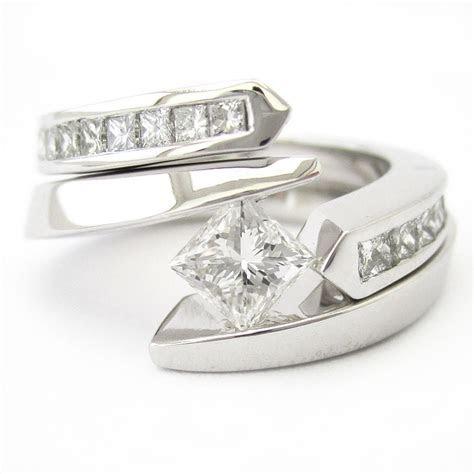 Princess Cut Tension Set Solitaire Diamond Engagement Ring
