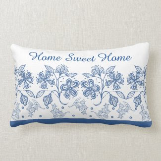 Custom Indigo Blue Floral Border Lumbar Pillow