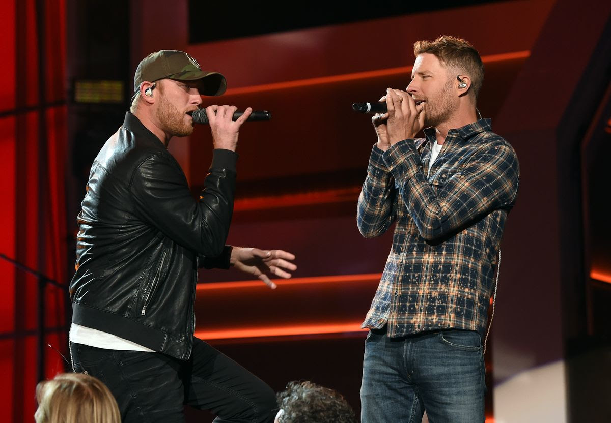 LAS VEGAS, NV - MARCH 31:  Singers Cole Swindell (L) and Dierks Bentley rehearse onstage during for the 52nd Academy Of Country Music Awards at T-Mobile Arena on March 31, 2017 in Las Vegas, Nevada.  (Photo by Kevin Winter/ACMA2017/Getty Images for ACM)