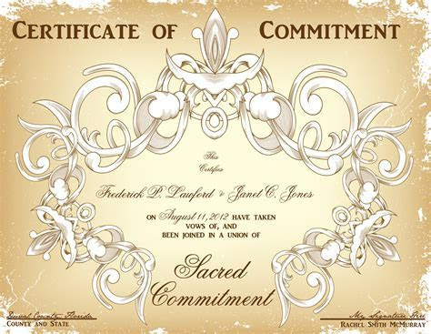 Commitment Ceremony Certificate Design Choices That