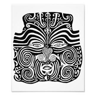 Diseño tribal maorí antiguo del tatuaje de Moko Fotografía