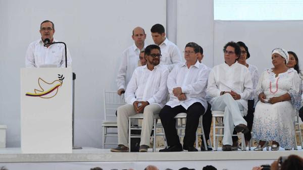 Timochenko, durante su discurso en la firma del acuerdo de paz en Cartagena (AFP)