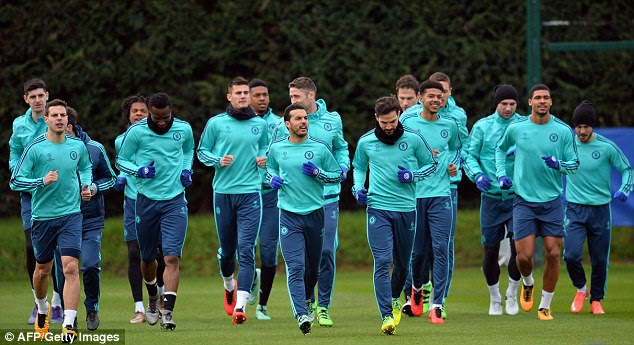Chelsea squad train ahead of their Champions League last-16 second leg clash against Paris Saint-Germain