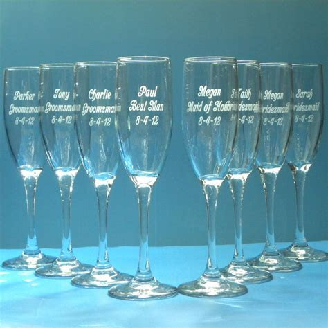 Wedding Champagne Flute Glassware Personalized Engraved