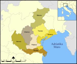 Esperanto: Provincoj de la itala regiono Venet...