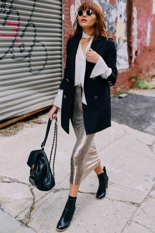 Le Fashion Blog White Flare Sleeve Blouse Black Blazer Sequined Midi Skirt Black Heeled Boots Via Natalie Off Duty