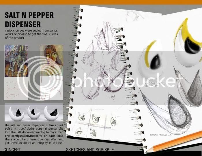 Picasso Inspired salt & pepper dispenser, sketches by neha chandran
