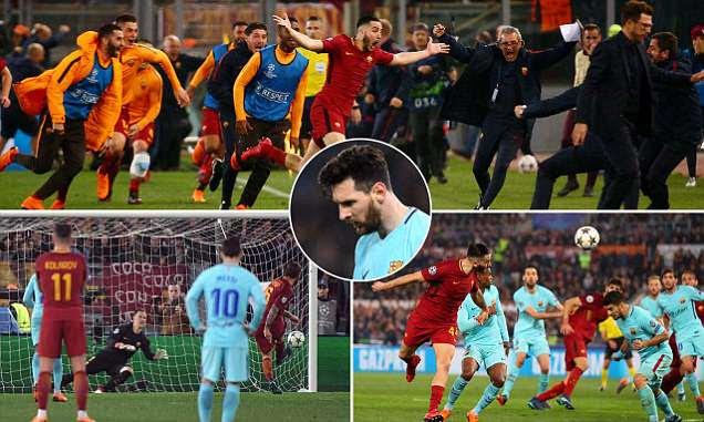 Roma 3-0 Barcelona (4-4 agg): Dzeko,De Rossi,Manolas deny Messi & Co