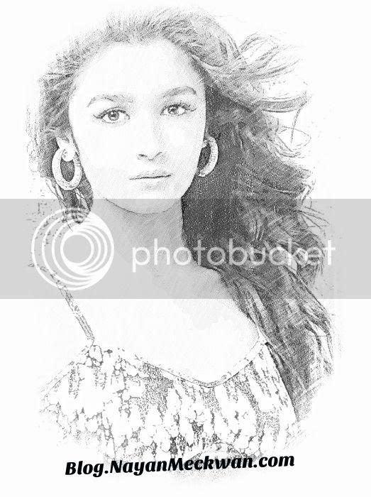 Alia Bhatt Beautiful Sketch Photo