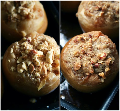 Baked stuff apples with crumble topping