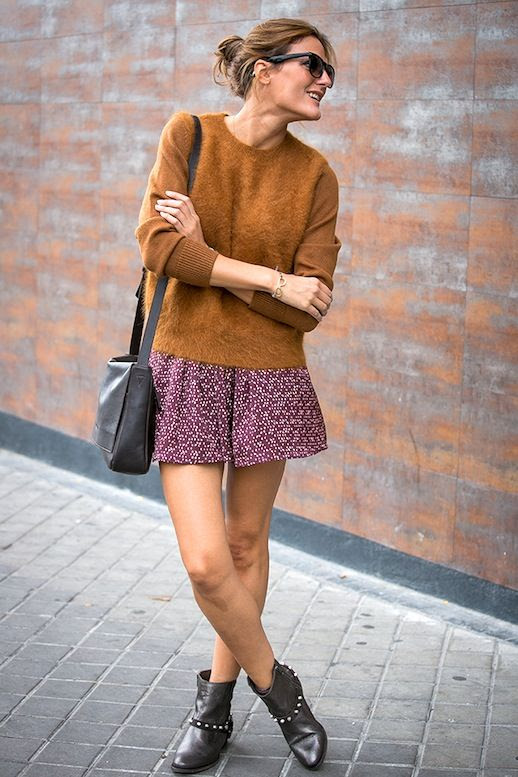 Le Fashion Blog Blogger Spring Style Brown Fuzzy Sweater Crossbody Bag Red Print Skirt Studded Flat Boots Via Style Lovely