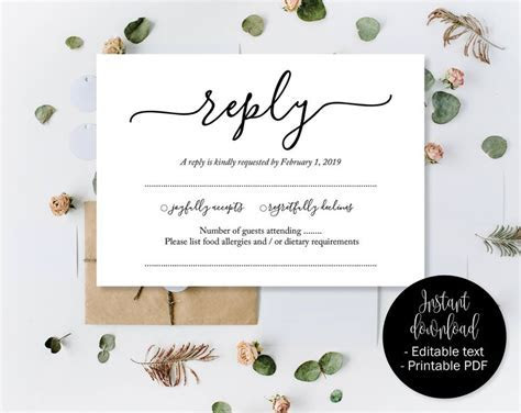 Wedding RSVP Cards, Wedding Reply Attendance Acceptance
