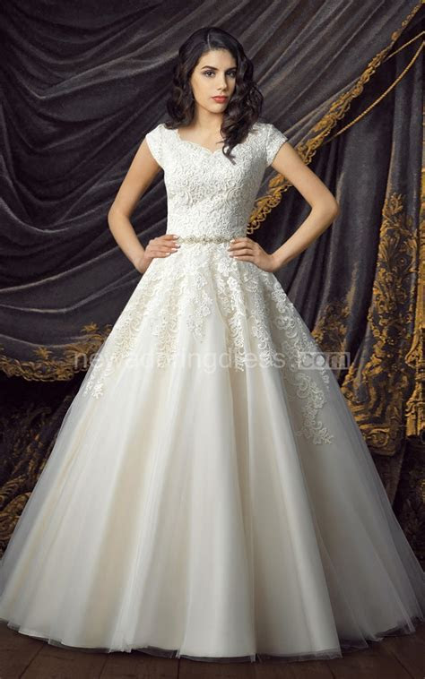 Lace Tulle Ball Gown Modest Wedding Dresses 2017 Cap