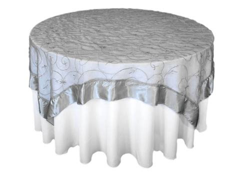 square embroidered overlay silver  white table