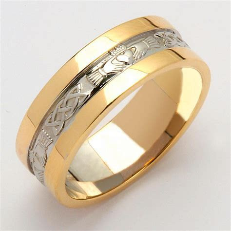 Irish Wedding Ring   Men's White Gold With Yellow Gold