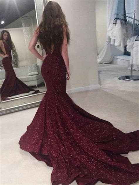 Burgundy Mermaid Prom Dress Modest Beautiful Unique Lace