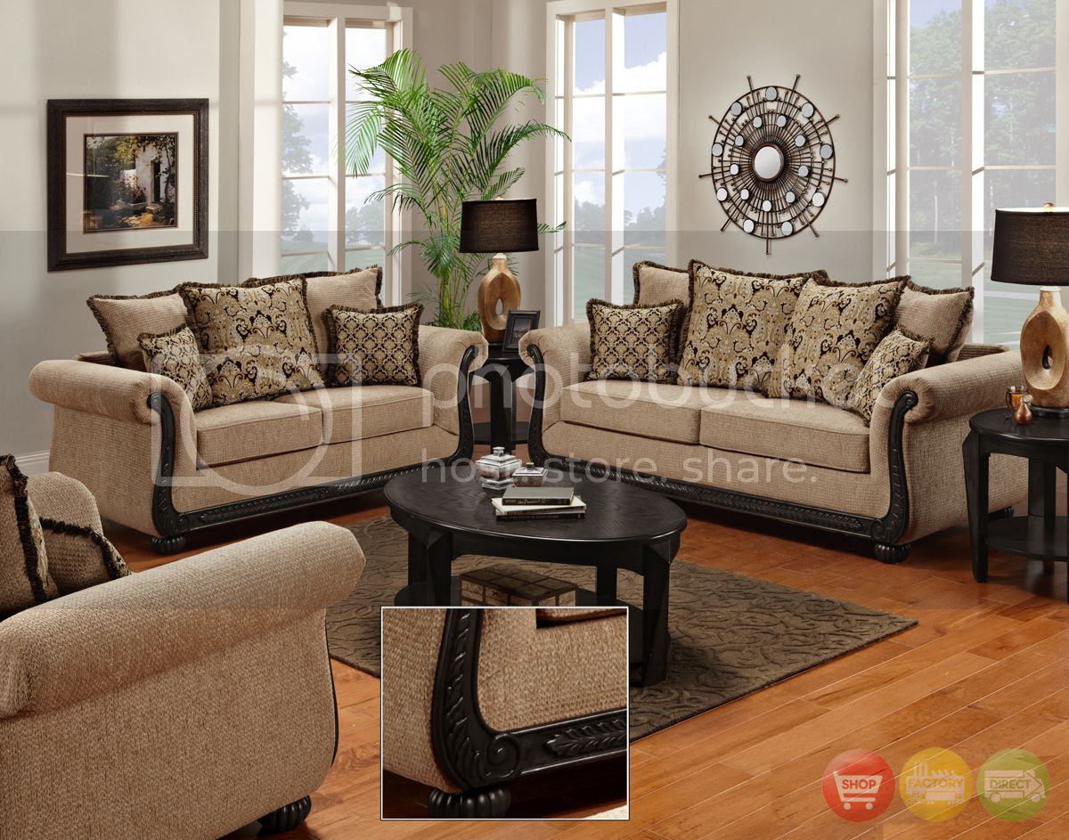 Delray Traditional Sofa & Love Seat Living Room Furniture ...