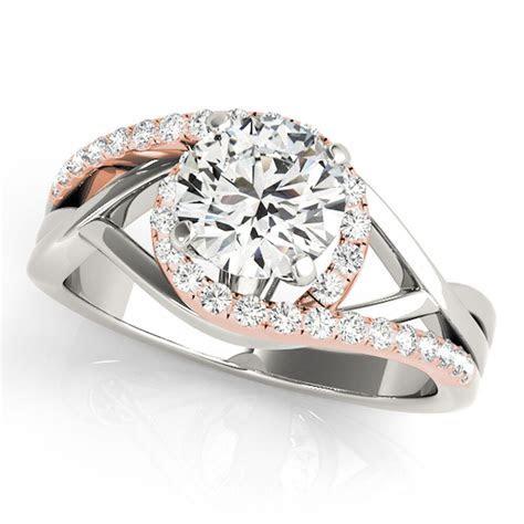 1/2Ct Halo Two Tone Intertwined Women's Diamond Wedding