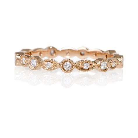 18k Rose Gold Diamond Antique Eternity Wedding Band   eBay