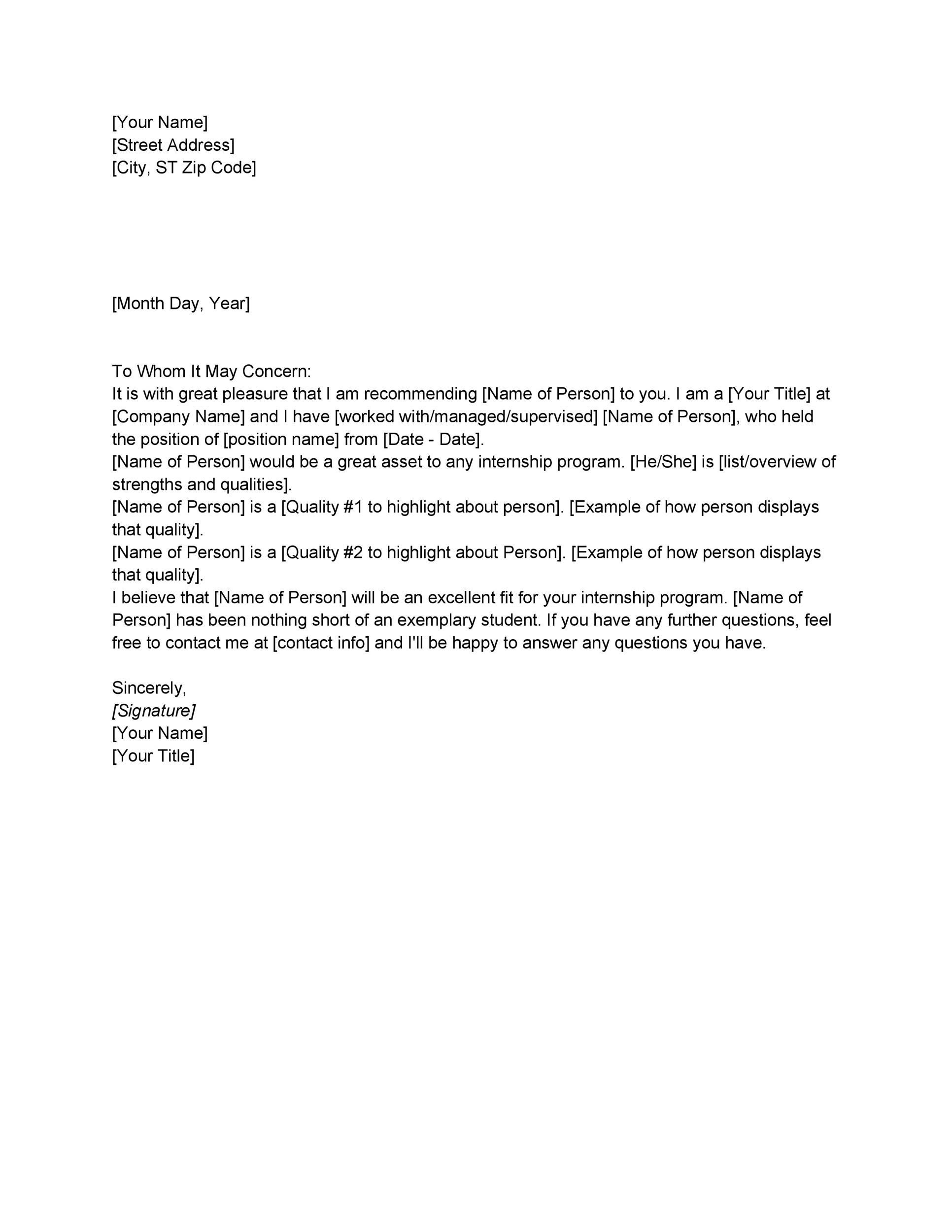 Letter Of Recommendation Examples Letter