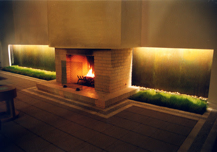 Hotel Water Wall With Fireplace - Outdoor Fountains - other metro ...