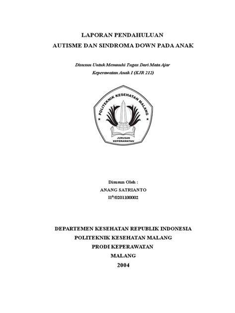 LAPORAN PENDAHULUAN DOWN SYNDROME+AUTISME.doc