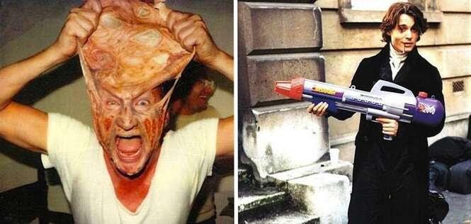 Fotos revelando cenas inusitadas e até divertidas em bastidores de filmes de terror