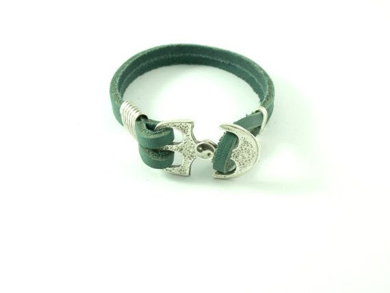 Genuiene  leather bracelet with  ying yang design by HirasuGaleri, $18.00  #jewelry #leather #bracelet #cuff_bracelet #silver_plated #anchor #yingyang #red #sport #unisex
