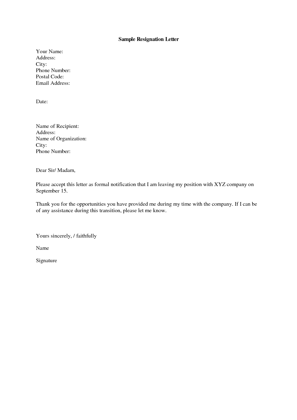 Simple Resignation Email Sample For Personal Reasons Sample Web H